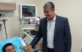 العديد من القيادات الجنوبيه تزور الجريح النوبي في مستشفى زايد العسكري بابوظبي