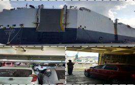 الباخرة العملاقة (باساما) في رحلتها الخامسة تفرغ 3431 سيارة بميناء عدن