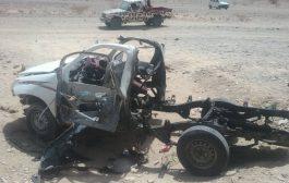 إنفجار سيارة ووفاة سائقها بنقطة باثوبان بمديرية مرخة بشبوة