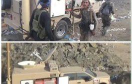 الضالع : بعد ان سحقت مليشيات  الحوثي  القوات الجنوبية تغنم كميات مهولة من العتاد ينها عربة البث المباشر لقناة المسيرة