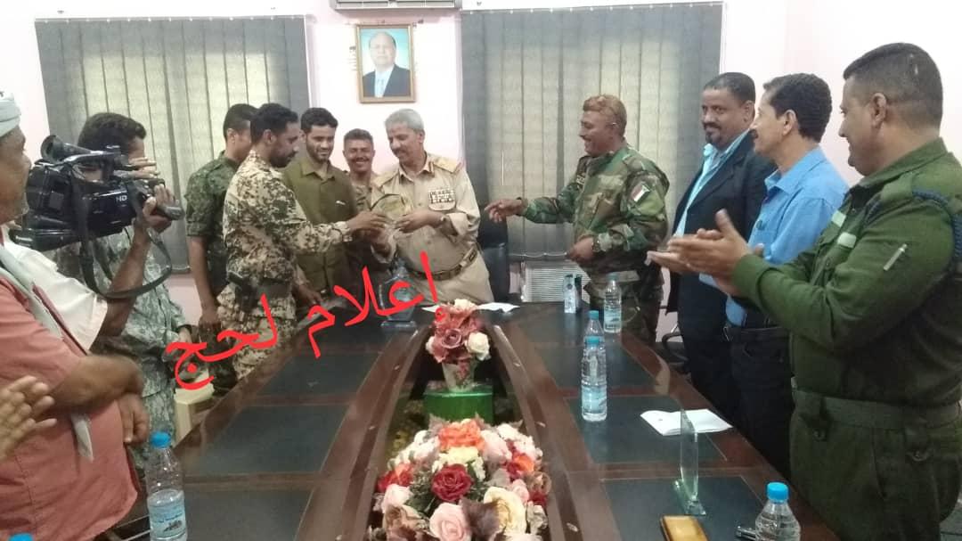 محافظ لحج ومدير أمن المحافظة يكرمان شرطة الحوطة والرباط