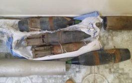 قوات الحزام الامني عدن تعثر على مقذوفات وصواعق على خط البريقة