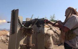 اللواء الثامن عمالقة يصد هجوم حوثي في جبهة البرح بتعز.