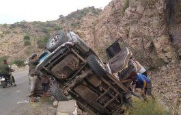 حادث مروع يؤدي بحياة أسرة على نقيل الربوة بردفان